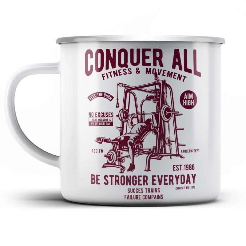 Plechový hrnek Conquer all