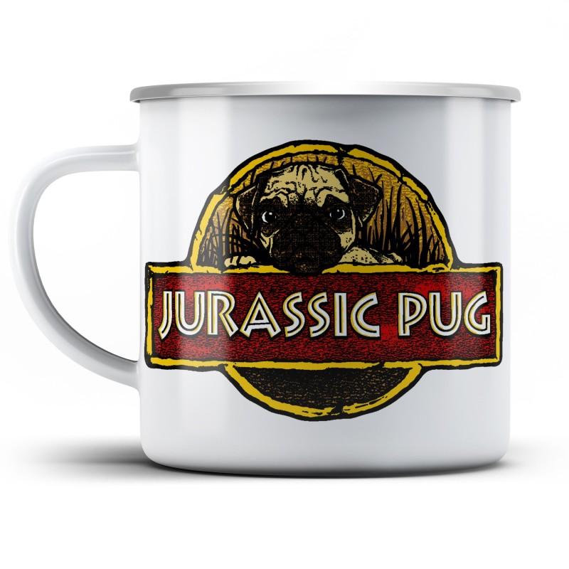 Plechový hrnek Jurassic pug