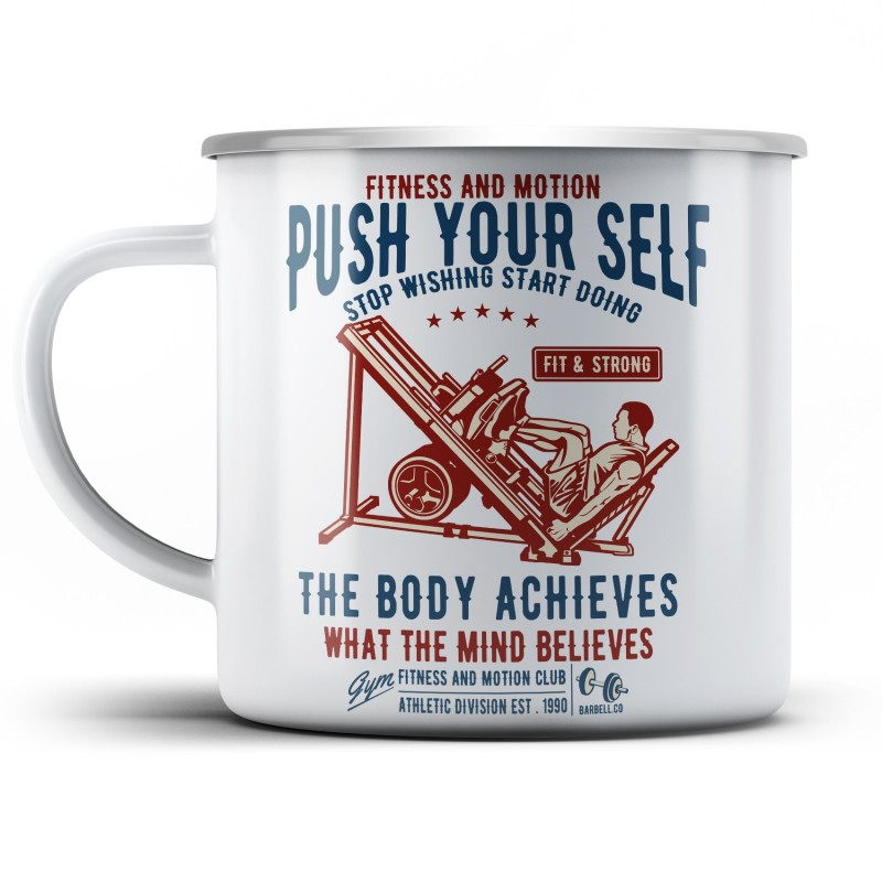 Plechový hrnek Push your self
